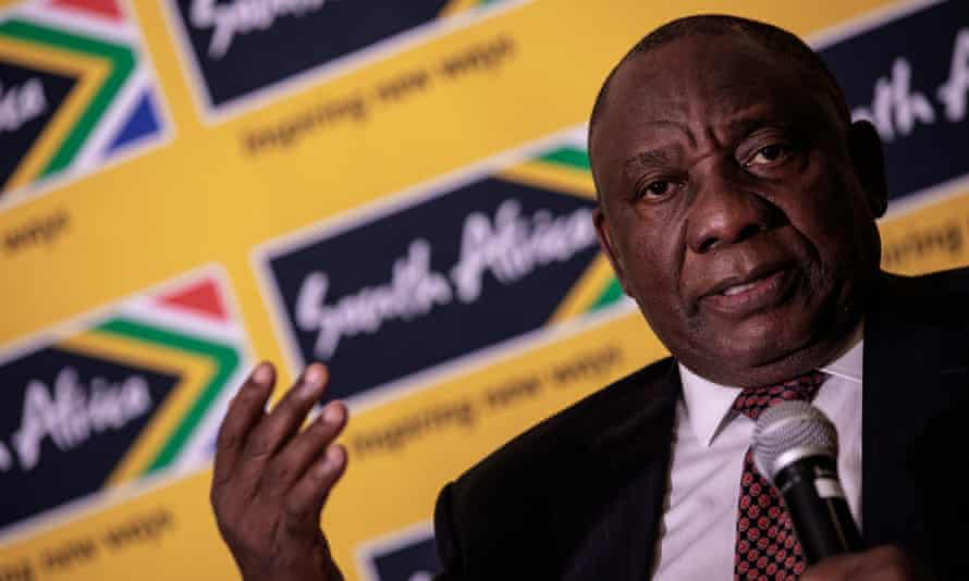 Cyril Ramaphosa speaks to reporters in Johannesburg
