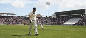 Watson departs after being dismissed in that most-familiar of ways – leg before – in the second innings of the first Ashes Test in Cardiff.