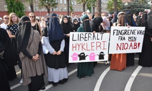 A demonstration in Copenhagen against Denmark's face veil ban on 1 August 2018