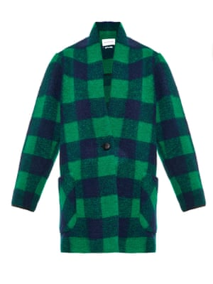 Green checked wool coat