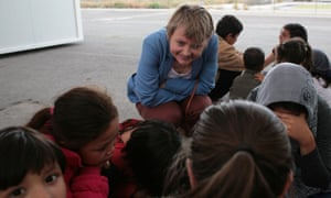 Yvette Cooper visits a refugee camp in Athens