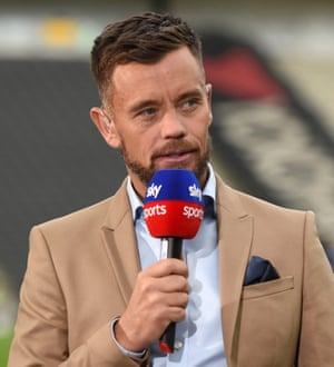Lee Hendrie working as a pundit at MK Dons v AFC Wimbledon in September 2019