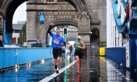 Runners in the virtual London Marathon