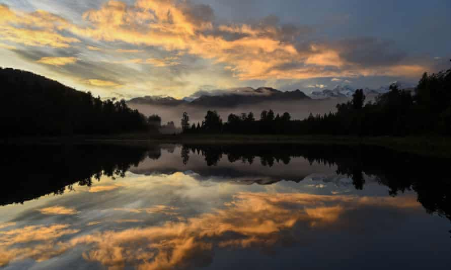 Matherson Lake near the township of Fox Glacier in southern island of New Zealand