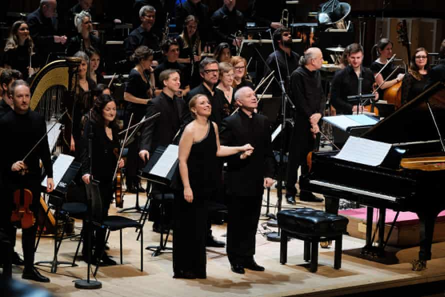 Pianist Tamara Stefanovich with conductor George Benjamin at the London Sinfonietta's 50th anniversary concert at the Royal Festival Hall.