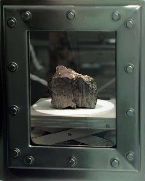 A Martian meteorite discovered in Antartica in 1984. Researchers claim to have found fossil evidence of organic material within the rock.