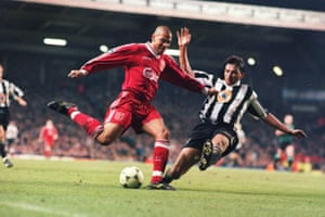 Collymore shoots under pressure from Albert.