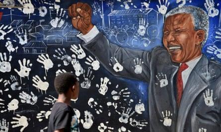 A mural on Nelson Mandela's former house in Johannesburg's Alexandra township.