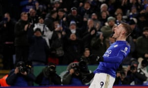 Jamie Vardy of Leicester City celebrates scoring his side's third goal against Aston Villa. That was the last Premier League game played before the suspension brought on by the coronavirus.