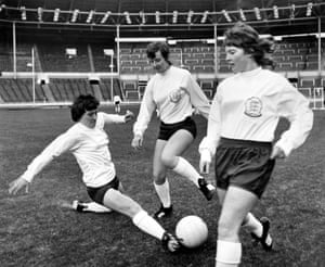 Paddy McGroarty, Sylvia Gore and Pat Davies of England's first women's international team train at Wembley in November 1972 before their first official match, against Scotland.