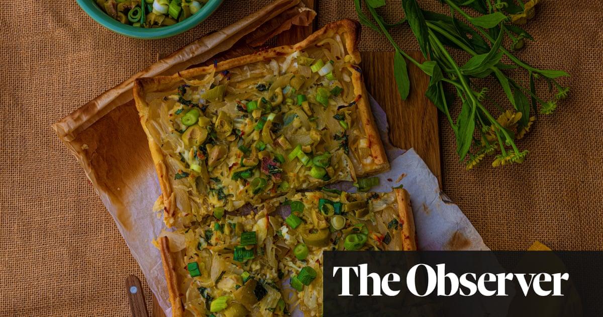 Anna Jones's halloumi, lemon and caramelised onion pie – recipe