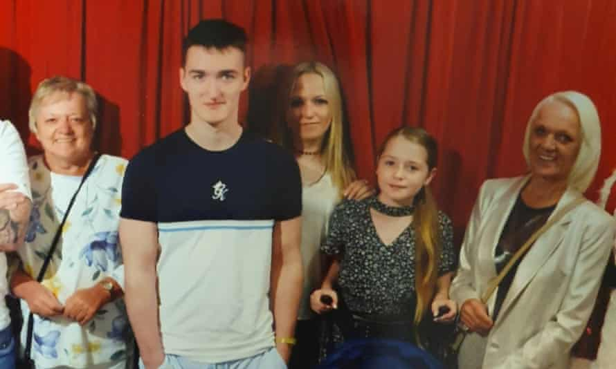 Caroline Walters, far left, with her family on holiday.
