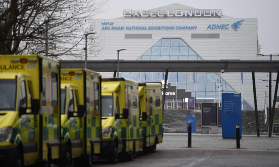 Ambulances parked outside the NHS Nightingale hospital at the ExCeL centre in London.
