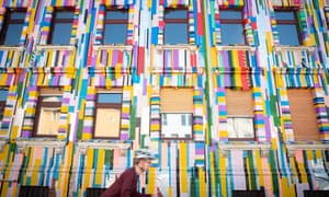 Tape art on the facade of Klebeland's new building.