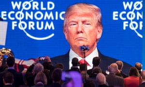 Donald Trump beamed on to a big screen at World Economic Forum 2018 in Davos