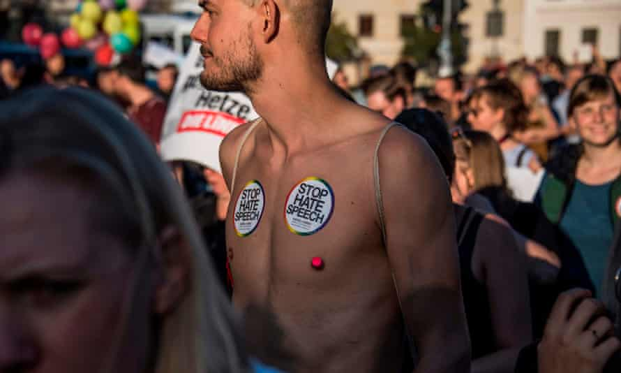 A topless protester in Germany