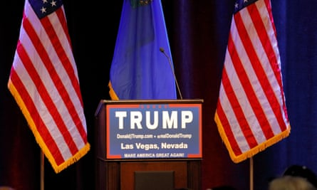 Imagining Donald's world ... an empty podium waits for the Republican presidential candidate.