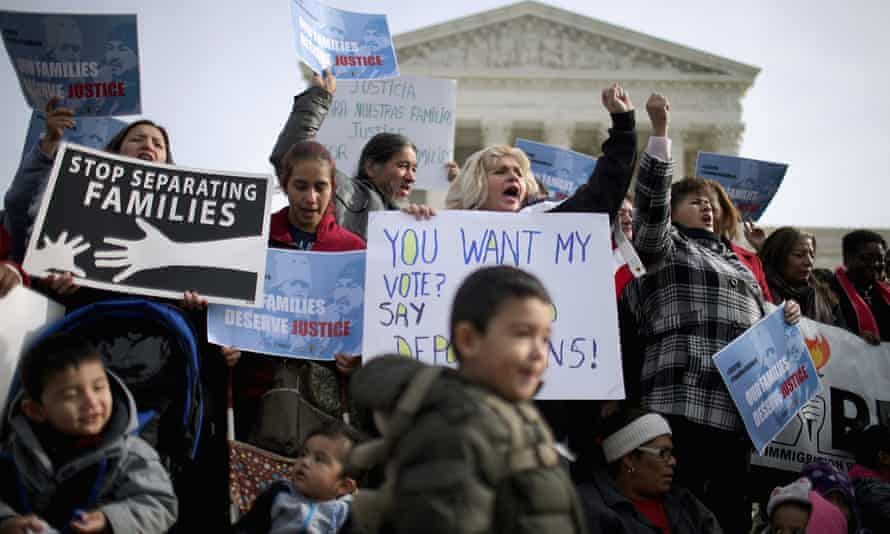 Pro-immigration protesters outside the supreme court on 15 January.