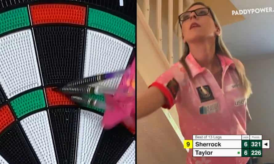 Fallon Sherrock gets a 180 during her Darts From Home match against Phil Taylor