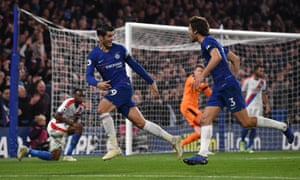 Álvaro Morata (left) and Marcos Alonso run off to celebrate after Morata scored his and Chelsea's second to retake the lead over Crystal Palace at Stamford Bridge.