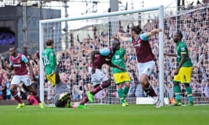 West Ham's Cheikhou Kouyaté wheels away after scoring their late equaliser against Norwich.