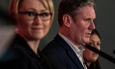 Keir Starmer with Rebecca Long-Bailey at Labour leadership hustings earlier this year