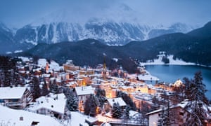 Winter scenic view at dusk over St. Moritz, Engadina, Switzerland