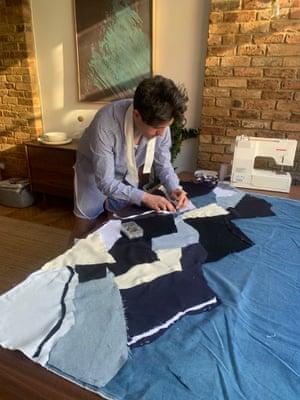 Daniel W.Fletcher making a patchwork quilt