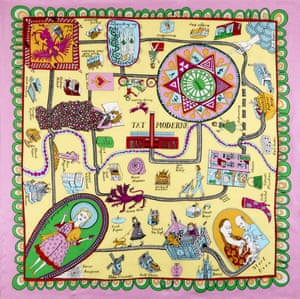 'Grayson has an opinion on everything, right down to an enamel badge' … Perry's silk scarf for Tate Modern, on sale for £85.