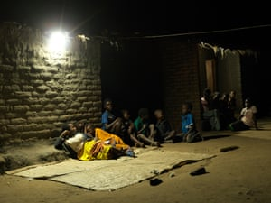 Villagers at night solar lamp Chatsala