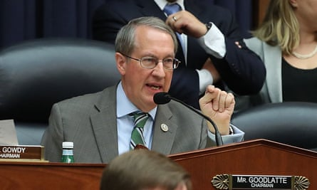 Robert Goodlatte during one of the congressional committee hearings into alleged FBI bias.