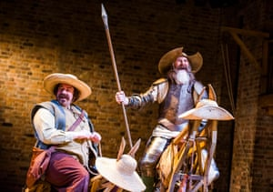 Rufus Hound (Sancho) and David Threlfall (Don Quixote) in Don Quixote at the Garrick.