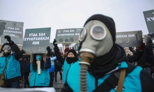 Mongolian activists demonstate against worsening air pollution in the capital, Ulan Baatar.