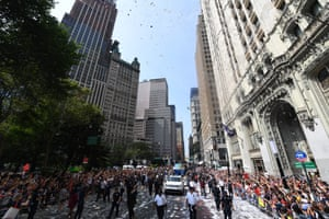 The parade is named for the strands of ticker tape – the ubiquitous strips of paper that ran through stock tickers that once provided price quotes for Wall Street traders. The tape has since been replaced with confetti made from shredded paper