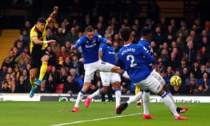 Adam Masina scores his first Watford goal, against Everton last Saturday.