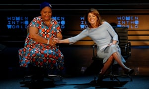 Nobe peace prize winner Leymah Gbowee speaks with CBS News host Norah O'Donnell at the Women in the World summit in New York.