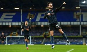 Bernardo Silva of Manchester City celebrates after scoring a goal to make it 1-3.