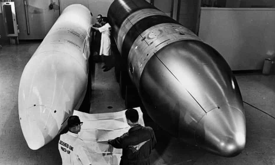 Life-size models of the Polaris A3 missile in 1968. Seven years earlier, the US navy established its Polaris base at Faslane.