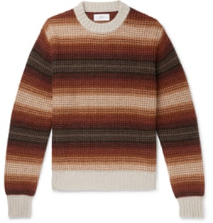 Style your brown knit up with white jeans and a classic camel coat. Stripe, £195, Mr P, mrporter.com
