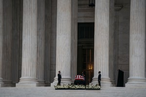 People pay tribute to Supreme Court Justice Ruth Bader Ginsburg in Washington D.C. on September 25, 2020. Ginsburg, who died on Sept. 18, 2020, will be the first woman to Lay in State this weekend in the in the US Capitol.