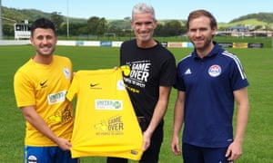 Former Socceroos captain Craig Foster poses with Dragan Balaban of Albion Park City FC