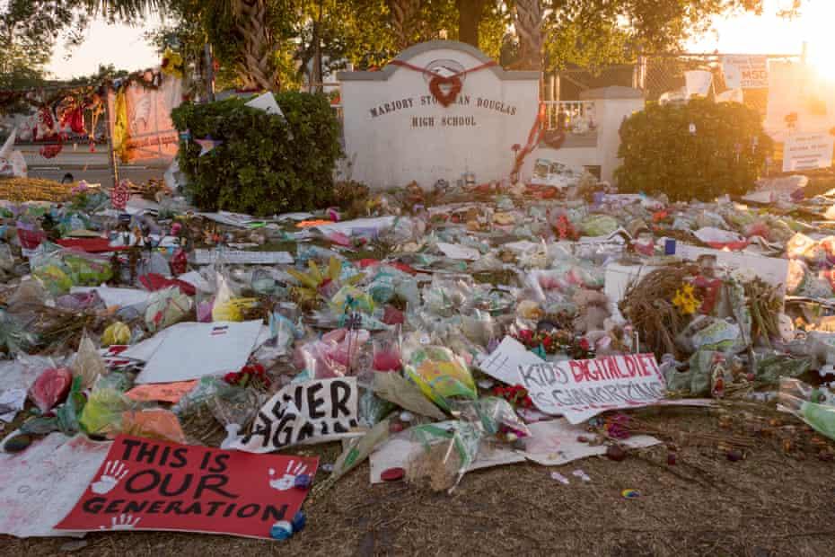 Makeshift memorial in front of Marjory Stoneman Douglas high school.