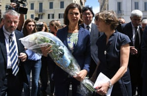 Rome, Italy Lower House Speaker Laura Boldrini and France's ambassador to Italy Catherine Colonna arrive at the French Embassy