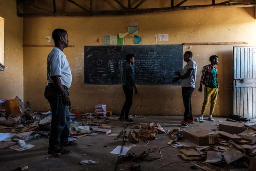 a looted classroom at Ksanet Junior Secondary School