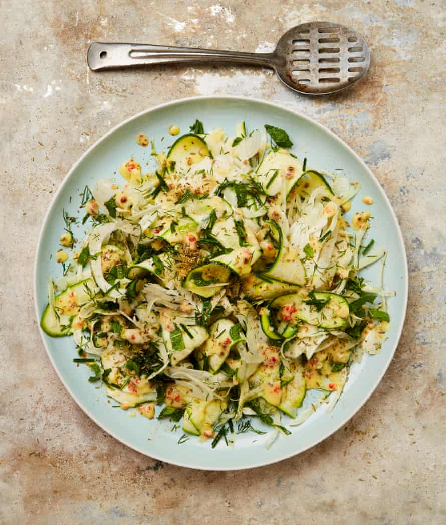 Yotam Ottolenghi's fennel and courgette salad with preserved lemon dressing.