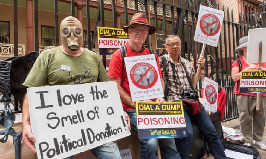 Protesters gather outside NSW parliament earlier this year calling for the proposed waste incinerator in Sydney's west to be scrapped.