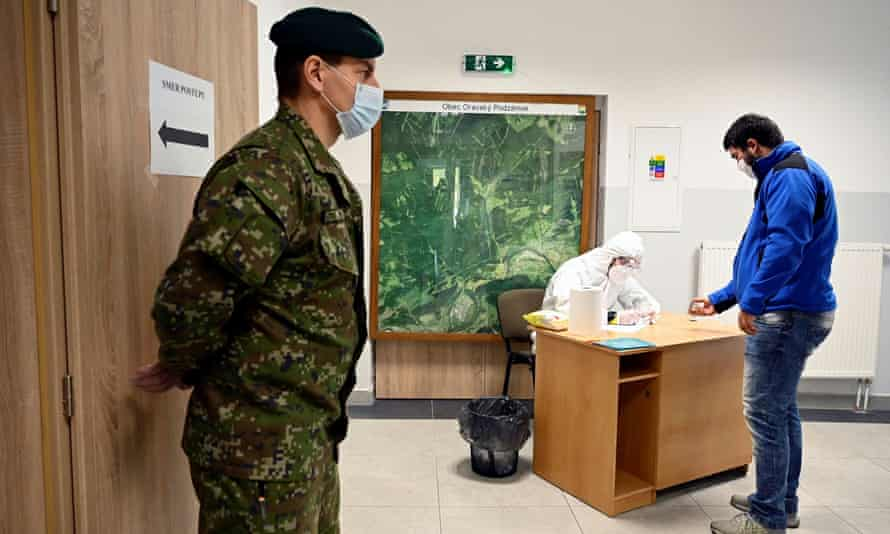 Coronavirus testing in Oravský Podzámok, Slovakia, last week.