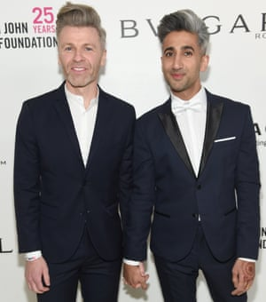 Rob France (L) and Tan France attends the 26th annual Elton John AIDS Foundation Academy Awards Viewing Party sponsored by Bulgari, celebrating EJAF and the 90th Academy Awards at The City of West Hollywood Park on March 4, 2018 in West Hollywood, California. (Photo by Jamie McCarthy/Getty Images for EJAF)