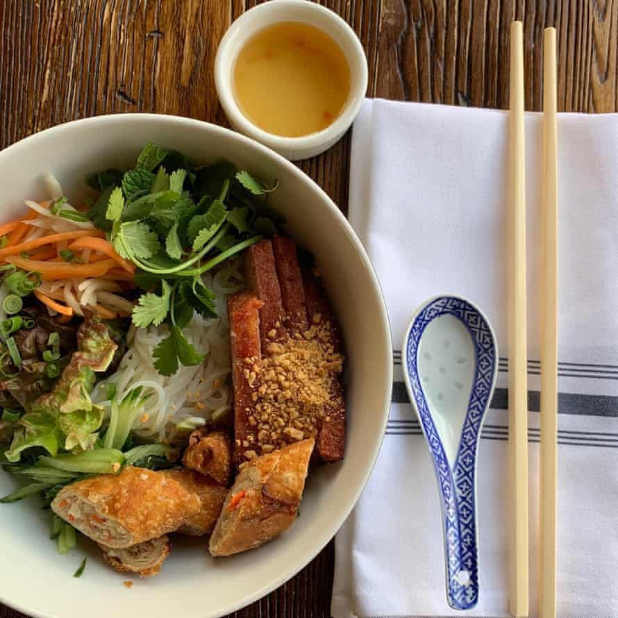 Dish of Chinese food, taken from above, at Harbinger, Des Moines, Iowa, US.