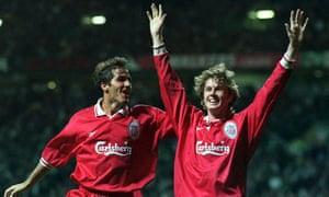 Steve McManaman is congratulated by team-mate Karl-Heinz Riedle after scoring for Liverpool against Celtic in September 1997